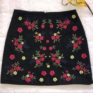 EUC black skirt with floral embroidered accents